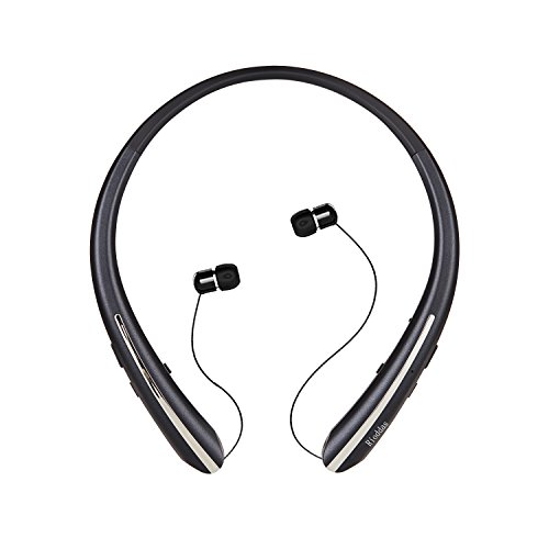 Rioddas Wireless Headphones Retractable Earbuds Sport Neckband Bluetooth headphones HD Stereo Bluetooth 4.1 Earphones w/Mic IPX5 Sweatproof fo Gym Workout Talk Time Up To 15 Hours HX801 (black5) by Rioddas