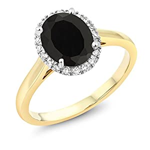 10K Two Tone Gold Oval Black Onyx and White Diamond Halo Engagement Ring 2.00 cttw (Available 5,6,7,8,9)