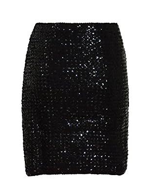 Anna-Kaci Womens Vegas Night Out Sleek Stretch Shiny Sequin Mini Pencil Skirt