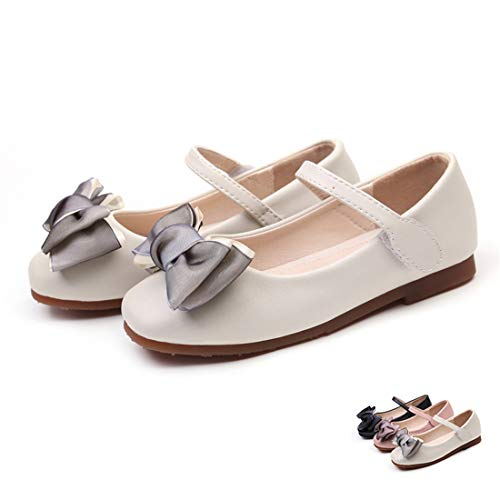 Girls Leather Shoes for Kids Princess Sandals Dress School Fashion Bow Summer Children Black Flat Damping Shoes Wedding Party (Ivory 32)