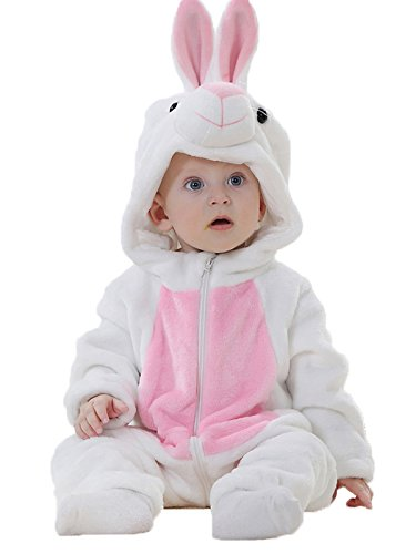 BELIFECOS Unisex-baby Little White Rabbit Pajamas Flannel Romper Costume Romper Outfits Suit 90]()