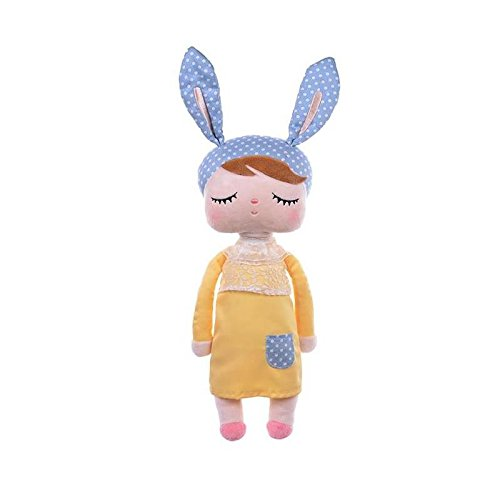 "Primo Passi 13"" Me Too Angela Vintage Super Soft Plush Stuffed Bunny Doll Baby Girl Rabbit Fantasy Series Yellow-Blue Style I Kids Idea I Washable Baby Girl"