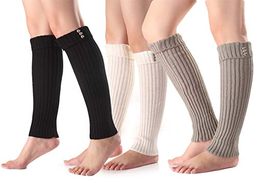 Santwo Women Winter Warm Crochet Knitted Boot Cuff Sock Short Leg Warmer 3 Pairs (Model 6) ()