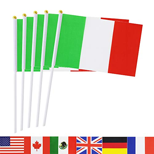 TSMD Italy Stick Flag, 50 Pack Hand Held Small Italian National Flags On Stick,International World Country Stick Flags Banners,Party Decorations for World Cup,Sports Clubs,Festival Events -