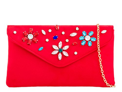 2093 Suede Red Out Beaded Handbags Prom Clutch Evening Bags Night LeahWard Flap 6Tw5zz