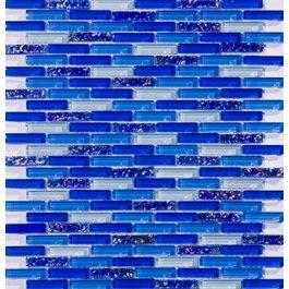 - Susan Jablon Mosaics - Cobalt Blue Mini Subway Glass Tile Mosaic