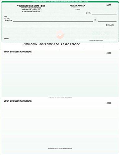 Quickbooks Checks on Top (Linen) - Printed Laser Business Computer Voucher Checks - 500 Sheets (Green)