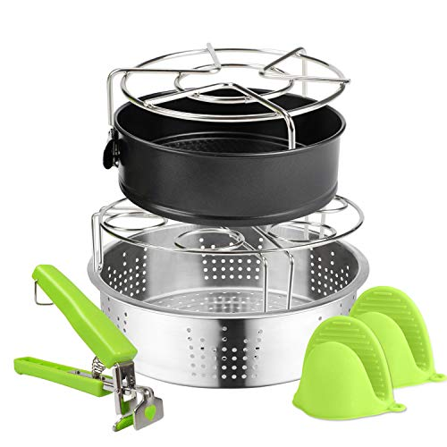6 PACKS Accessories Compatible with Instant Pot 6, 8Qt Steamer Basket Steamer Base Springform Pan Egg Steamer Rack Silicone Oven Mitts Plate Dish Clip for Pressure Cooker Cooking Pot Steamer Pot Pan