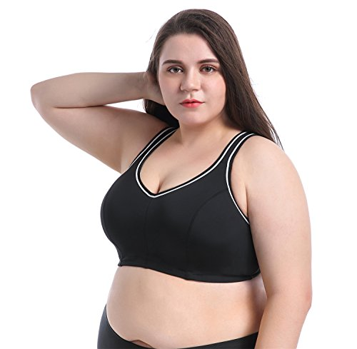 Sports Bra Plus Size Large Busts No Padding Full Support High Impact Non Wired For Woman Girls  Black  46Dd