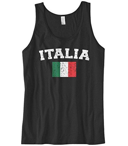 - Cybertela Men's Faded Distressed Italia Flag Tank Top (Black, 3X-Large)