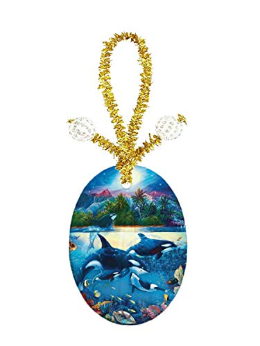 Oval Pendant Jewelry Porcelain - Eunice Wyland Shark Porcelain Ornament Crafts Oval Porcelain Christmas Decorations Home Hanging Jewelry Gift Souvenir