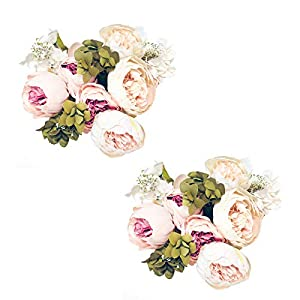 Pack of 2 Artificial Flowers Vintage Fake Silk Peony Flowers Wedding Bush Bouquet Arrangement for Home Decor Party Floral Wreath Centerpieces Decoration and DIY (Light Pink) 34