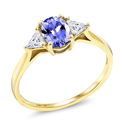 Gem Stone King 10K Yellow Gold Solitaire Ring Oval Blue Tanzanite and Timeless Brilliant Created Moissanite (IJK) 0.32ct (DEW) (Size 7)