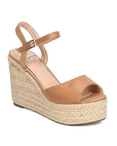 Women Faux Suede Peep Toe Espadrille Platform Wedge Sandal GC12 - Beige (Size: 10)