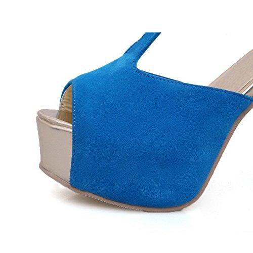 AllhqFashion Mujeres Peep Tacón ancho Hebilla Sólido con Hebilla Metal Sandalia Azul