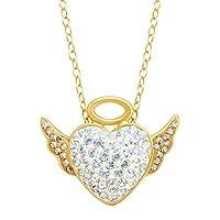 Crystaluxe Angel Pendant w/Swarovski Crystals 14K Gold Sterling Silver