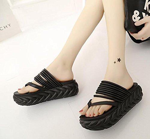 SHANGXIAN Antideslizante Grueso EU37 Tide Zapatos Mujeres Hembra 7 Casual Pink US6 CN37 Verano Chancletas Black 5 UK4 Sandalias Fondo 5 Zapatilla Playa 5 Muffin rqFrUzt
