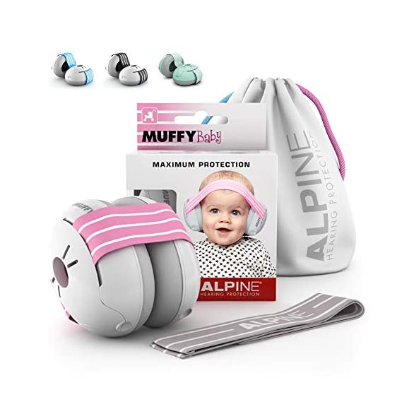 Alpine Muffy Baby Ear Muffs, Ear Protectors for Babies and Toddlers, Pink/White