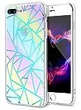 E-desire iPhone 7 Plus Case, iPhone 8 Plus Case, Reflective Rainbow Rhombus Shape