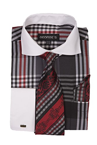 George's Big Plaid Pattern Fashion Dress Shirt With Tie Set & Cuffs AH626 Black 18-18 1/2 36-37 Plaid Dress Set