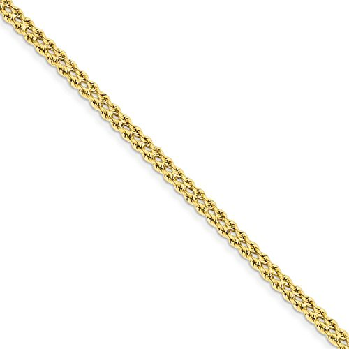 14KT 2.5 Millimeter Wide 2 Strand Diamond Cut Rope Bracelet 7 Inches In Length 14kt Diamond Cut Rope Bracelet