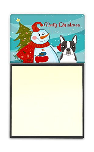 Caroline's Treasures Snowman with Boston Terrier Sticky Note Holder, Multicolor (BB1823SN)