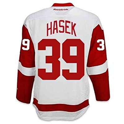 Dominik Hasek Detroit Red Wings Road Jersey by Reebok - SEWN TACKLE TWILL NAME/NUMBER