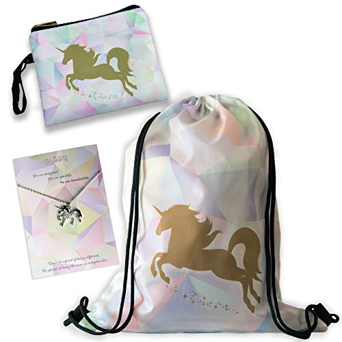 (Unicorn Gift For Girls - 3 PCS Set - Large Drawstring Bag/Makeup Bag/Rhinestone Necklace - Perfect Birthday Present For Tweens and Teens)