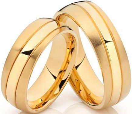2 Eheringe Trauringe Verlobungsringe 18 K vergoldet /& Lasergravur