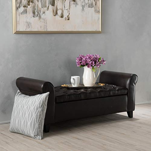 Stafford Brown Leather Armed Storage Bench