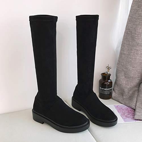 Shukun Stiefeletten Mid-Stiefel weibliche Flache Unterseite Herbst und Winter Lange Stiefel Kinder Knie Stiefel Frauen