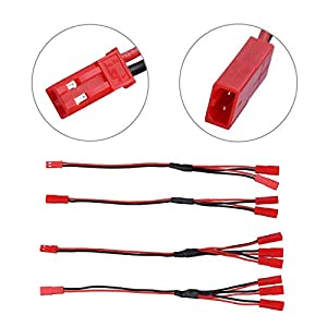 Acekeeps JST Y-Harness Connectors (1 to 3), JST Y Parallel Splitter (1 to 2) & JST to JR Wire Adapter, JST Male Female Extension Cable Set for RC Crawler Receiver/ESC Motor/Cooling Fan/Lights (6-Pack)