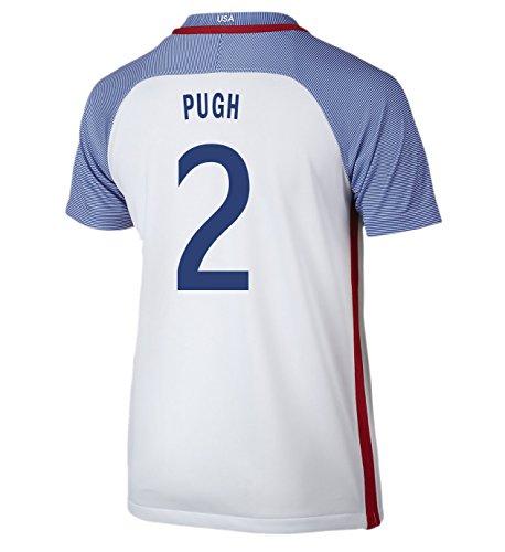 (Nike Pugh #2 USA Home Soccer Jersey Rio 2016 Olympics Youth. (YXS) White)