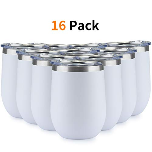 ONEB 16pack Stainless Steel Wine Tumbler with Lid, 12 OZ | Double Wall Vacuum Insulated Travel Tumbler Cup for Coffee, Wine, Cocktails, Ice Cream Cup With Lid (White, 12OZ-16pack)