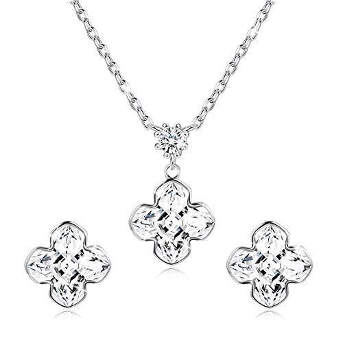 (Sllaiss 925 Sterling Silver Daisy Flower Crystal Necklace Earrings Set for Women Crystals from Swarovski, Fine Jewelry Set with Gift Box Birthday Gift for Her)