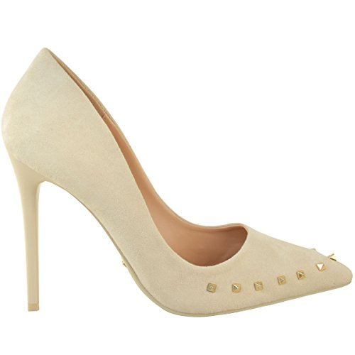Faux de zapatos tachuelas Damas Gold con Light estrecha Suede sedienta punta altos mujer estiletes sandalias corte Nude Moda tacones tamaño Stud para W74pqxSwxU