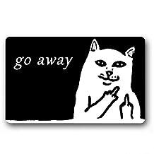 Burning Love Short Plush Material Angry White Grumpy Cat Go Away Printed Doormat , Non-slip Doormats, Size40X60CM.