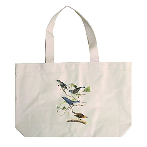 Natural Canvas Beach Tote Indigo Bunting James Audubon Birds By Style In ()