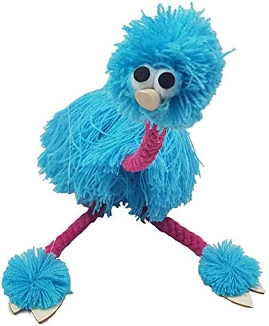 OERTUFU Kids Marionette 2pcs Handmade Gifts Educational Children Toys Festival Doll Crafts Muppets Traditional Ostrich Shape pe Control Wooden Puppet Animal(Blue)