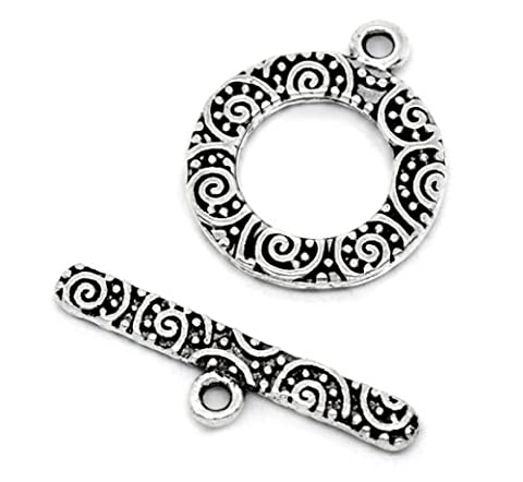Toggle Clasps, 38 Sets, Round Antiqued Silver Tone - Jewelry Making Bracelets - Filigree Look - Round Sterling Silver Wire Basket