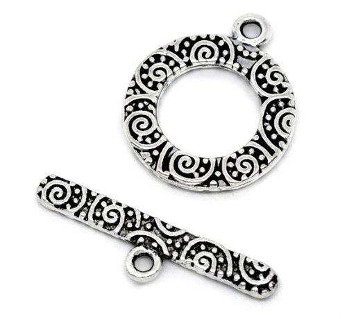 Toggle Clasps, 38 Sets, Round Antiqued Silver Tone - Jewelry Making Bracelets - Filigree Look -