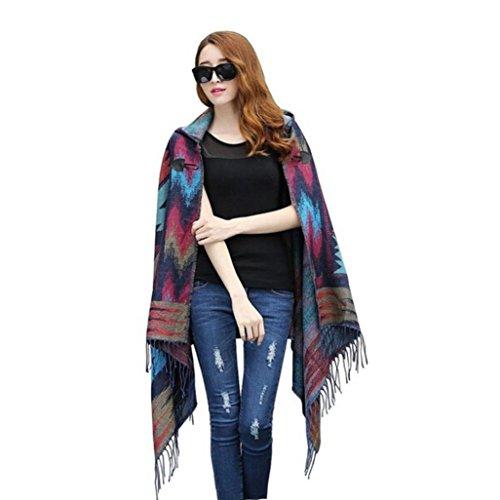 Datework Women Vintage Hooded Cloak Cape Bohemian Fringed Shawl Scarf (Hot - Belt Cashmere Wool