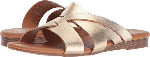 Franco Sarto Womens Gweniver Leather Open Toe Casual Slide Sandals Gold uMbjj