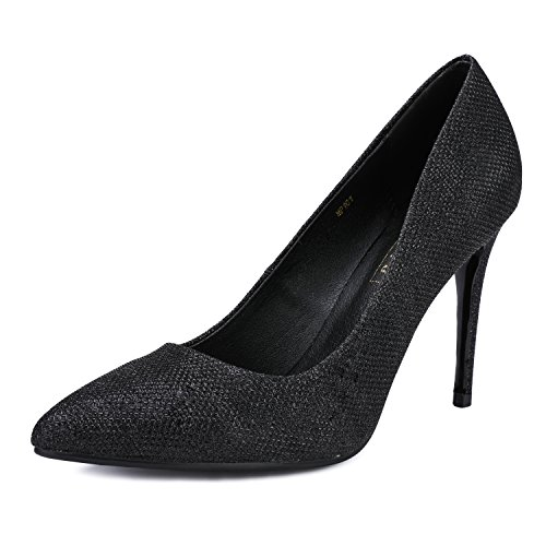 IDIFU Women's IN4 Classic Pointed Toe Stiletto High Heel Dress Pump (5.5 B(M) US, Black Glitter) ()