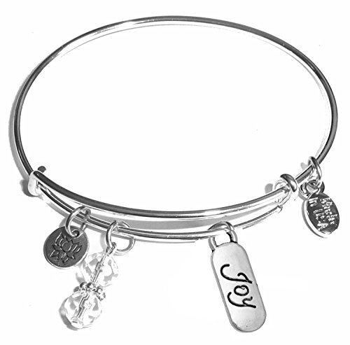 Hidden Hollow Beads Message Charm (Choose Message) Expandable Wire Bangle Bracelet, in The Popular Style (Joy) ()