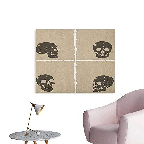 Anzhutwelve Grunge Corridor/Indoor/Living Room Skull Figure on Murky Flat Framework Halloween Crossbones Spooky Monster Image The Office Poster Tan Dark Taupe W28 xL20