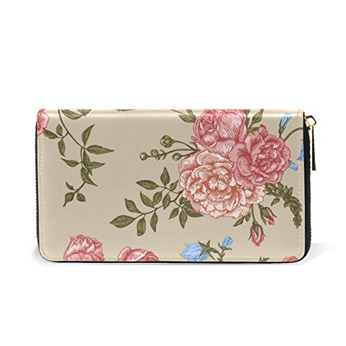 Clutch Leaves Flowers Around And Vintage TIZORAX Purses Organizer Zip Womens Wallet Handbags wxCFEUI1