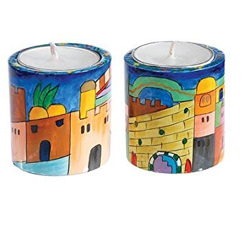 Shabbat Candlesticks Holders - Jewish Set - Yair Emanuel ROUND SHABBAT CANDLESTICKS JERUSALEM (SMALL) (Bundle)