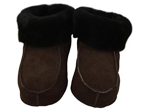 Ladies Full piel de cordero zapatillas botas con piel de cordero puños, piel o duro único, varios colores Brown (Leather Sole)