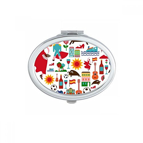 Spain Spanish Heart Bullfight Flamingo Guitar Fan National Flag Oval Compact Makeup Pocket Mirror Portable Cute Small Hand Mirrors Gift by DIYthinker